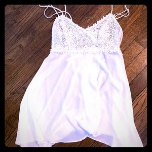 Flora Nikrooz Ivory Chemise with Lace Appliqué